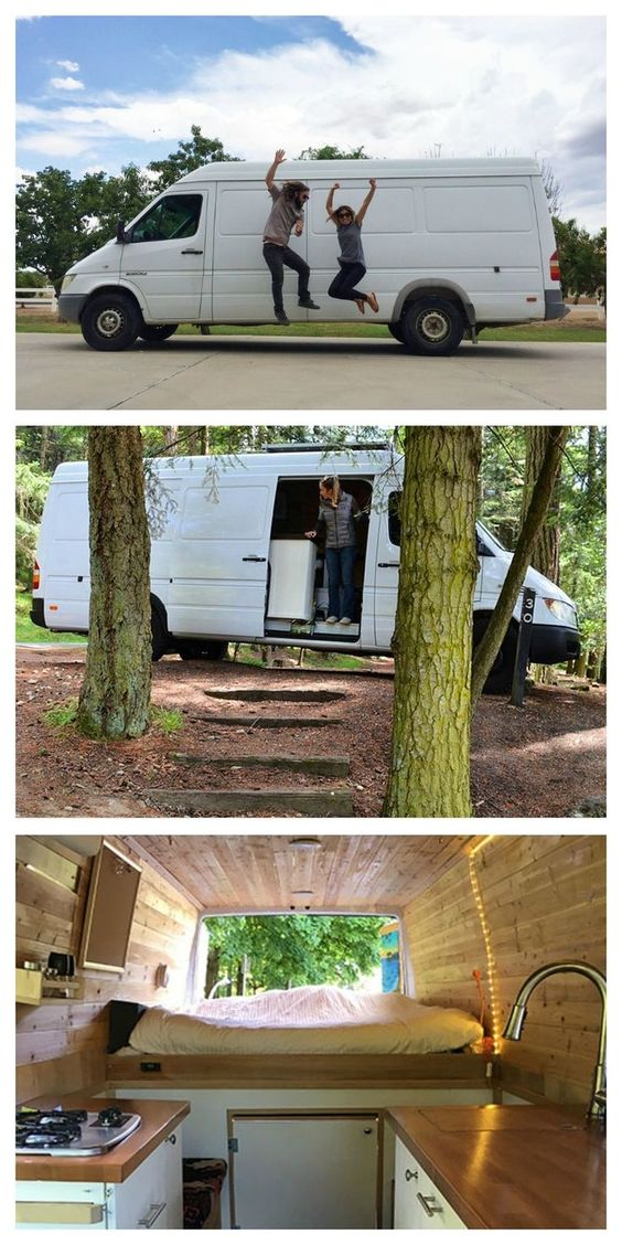 These college students live in a van full-time to avoid paying for rent in Portland, Oregon. Check out their awesome Sprinter van conversion. #vanlife #campervan #vanconversion #vanlifediy
