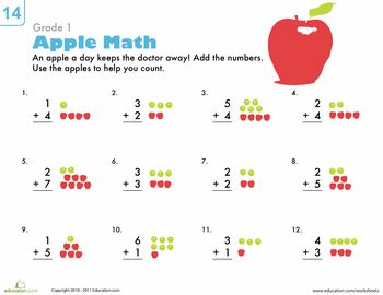 Basic addition worksheets first grade