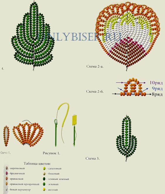 Цветы из бисера схема плетения с пошаговым