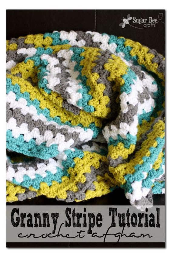 Granny Stripe Crochet Afghan Throw Blanket - Sugar Bee Crafts: