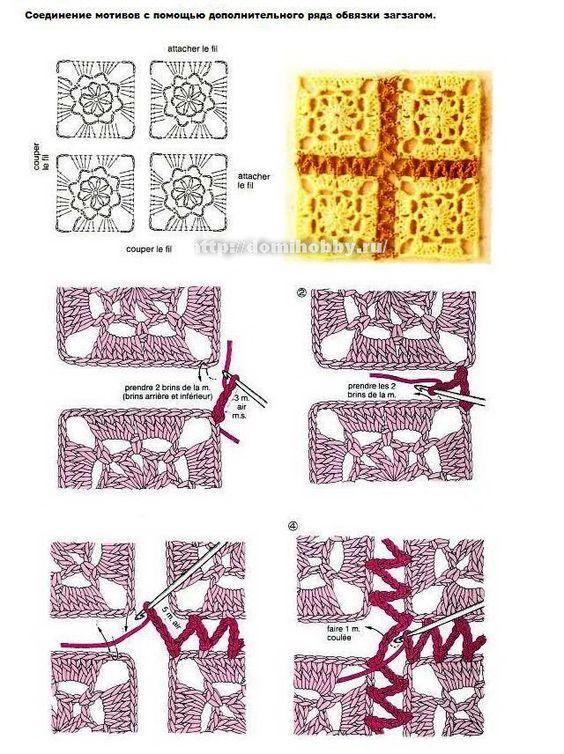 Вязание квадратных мотивов и их соединение крючком