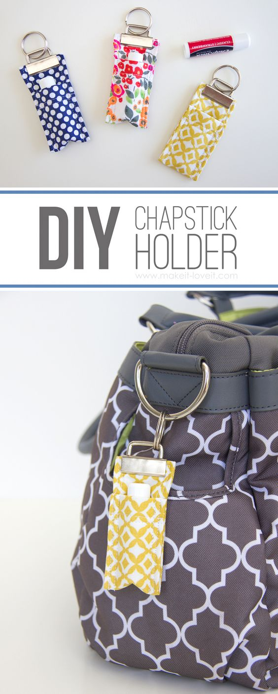 DIY Fabric Chapstick Holder....attach to purses, backpacks, keychains, etc. | via Make It and Love It: