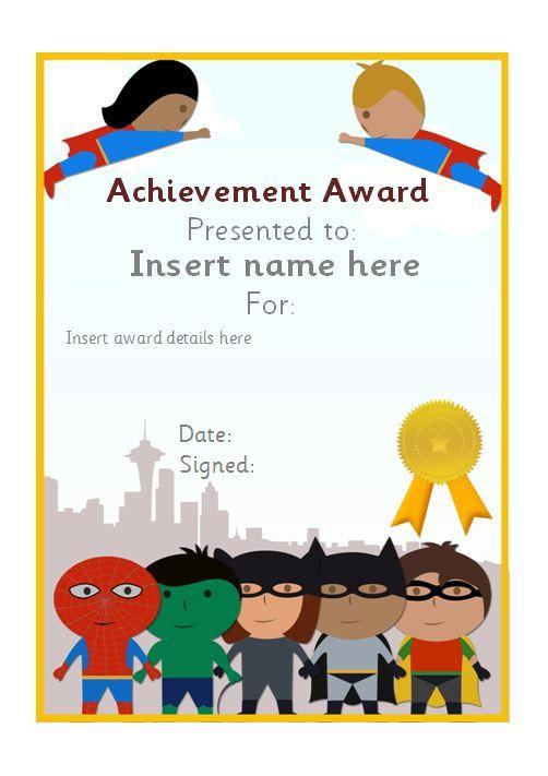 Similiar Superhero Certificate Template Editable Printable Keywords