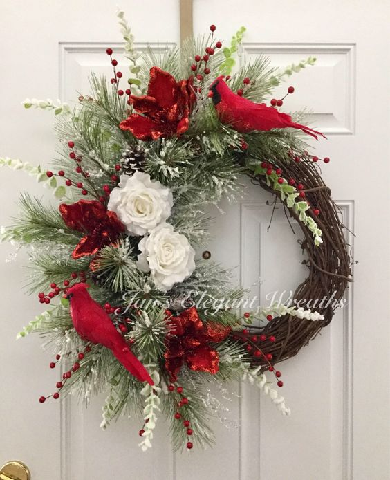 A personal favorite from my Etsy shop https://www.etsy.com/listing/545016608/christmas-wreath-cardinal-wreath-elegant