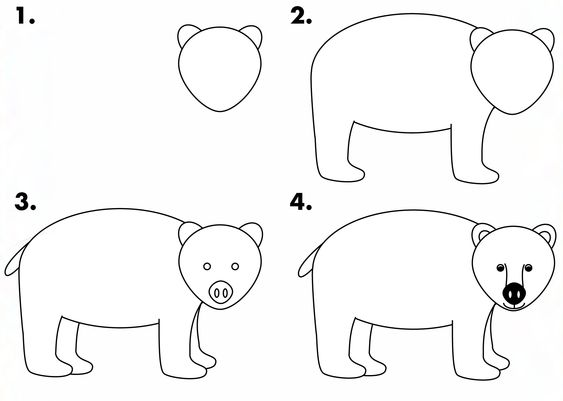 How to draw a grizzly bear easy