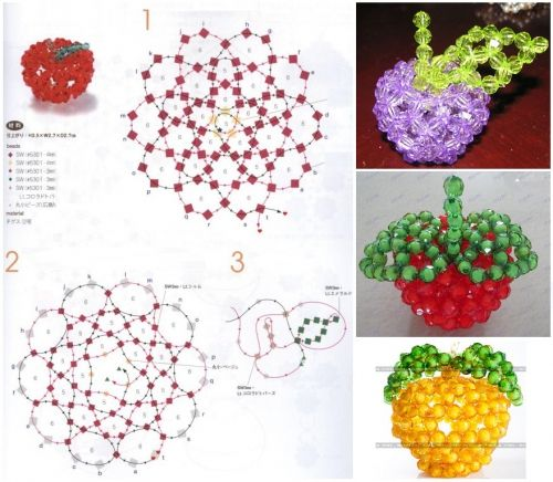 Поделки из бисера яблоня схема