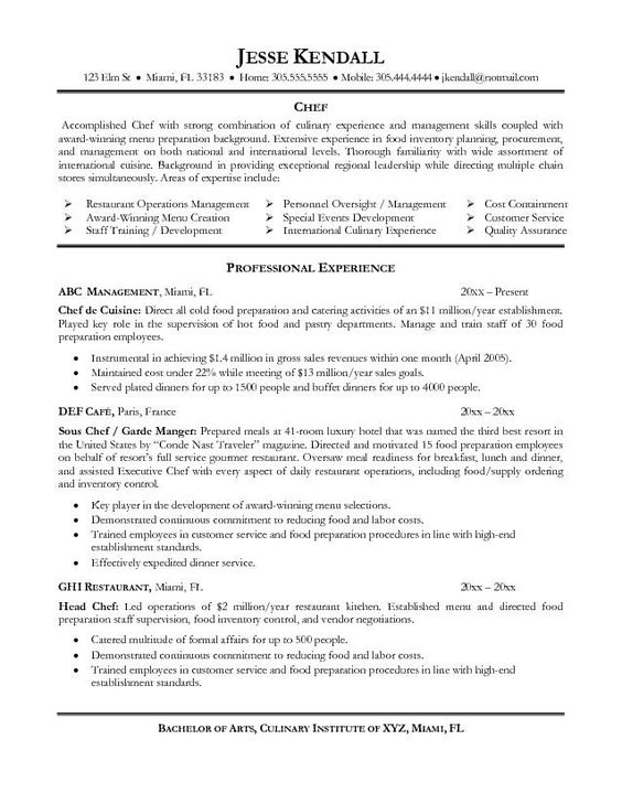 cover letter for executive chef position