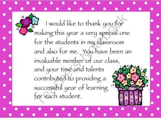 Thank you parents from teacher