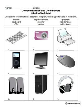 Computer parts worksheets pdf