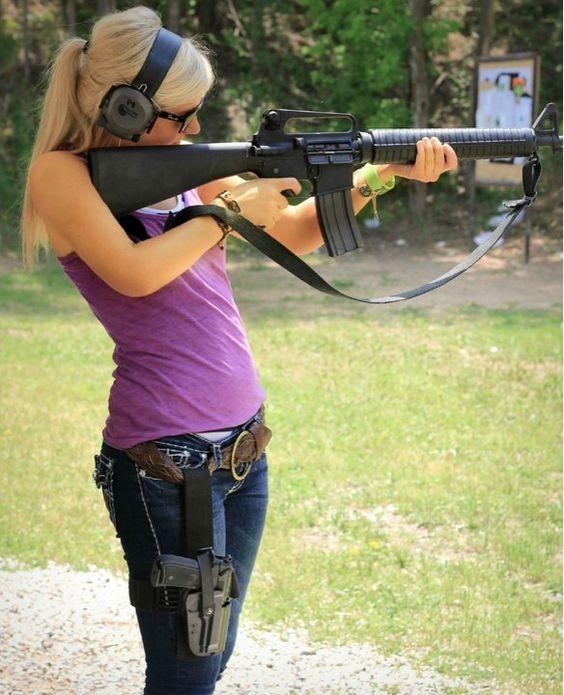 Hot girl shooting gun