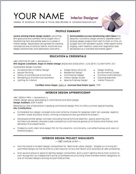 Resume For Interior Designer