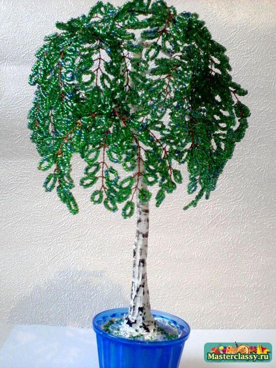Зеленая березка из бисера мастер класс