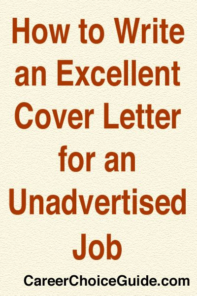 Job Application Letter Unadvertised