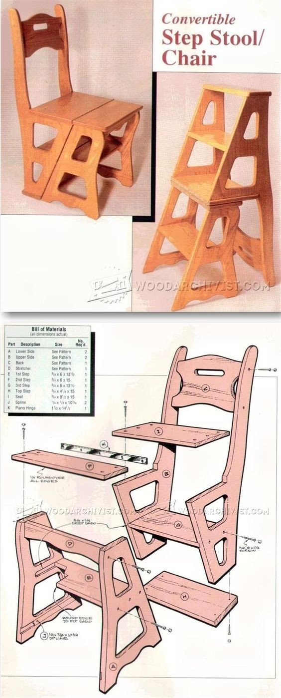 Чертежи стула-стремянки своими руками
