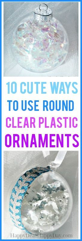 10 cute ways to use clear plastic round ornaments #christmasornament #clearornament #plasticballs #ornamentdiy #clearplasticroundornament