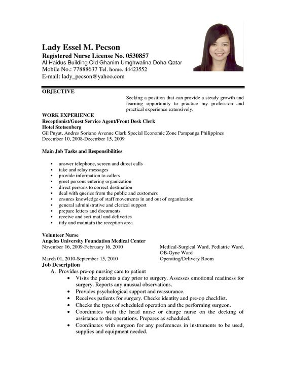 Professional nursing tutor sample resume