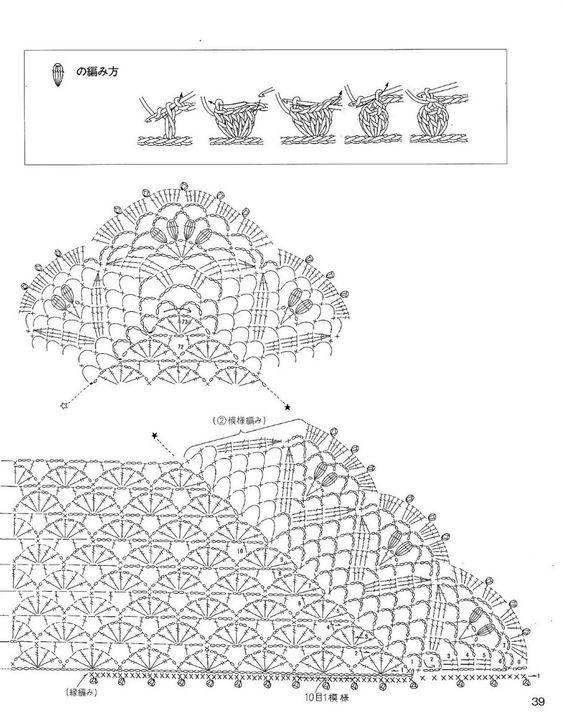 Вязание крючком шали схемы японские