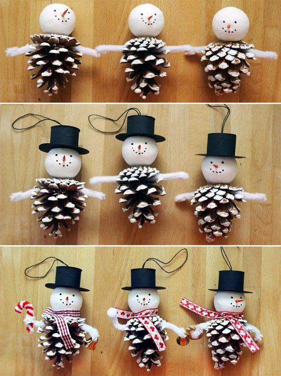 Снеговик из шишек своими руками новый год Pinterest