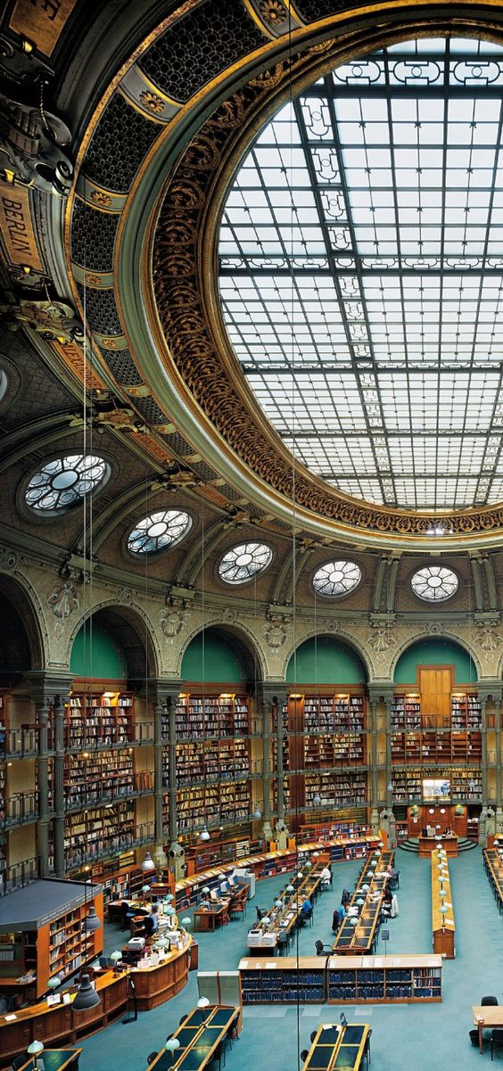 The Oval Room, the reading room of The National Library of France - Paris:
