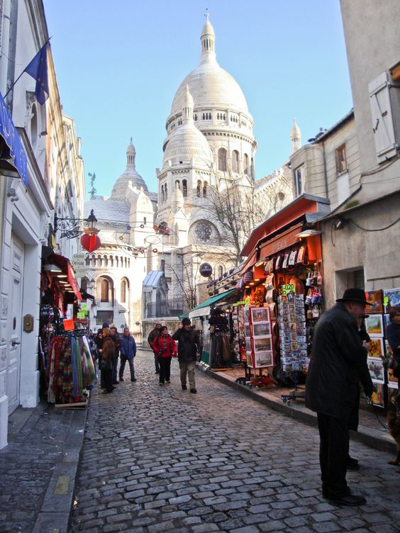 A picturesque cobbled street in Montmartre, Paris: