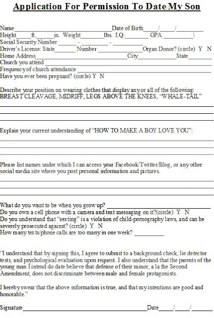 Rules For Dating My Daughter Form