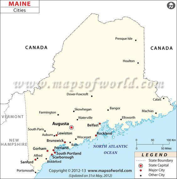 Maine City Map Major Cities Of Maine Usa Maps