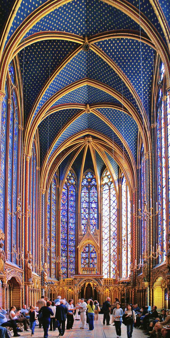 Sainte-Chapelle (inside the), Paris. Begun some time after 1239 and consecrated on the 26th of April 1248, the Sainte-Chapelle is considered among the highest achievements of the Rayonnant period of Gothic architecture. Although damaged during the French revolution and heavily restored in the 19th century, it retains one of the most extensive in-situ collections of 13th century stained glass anywhere in the world.:
