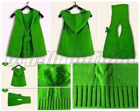 Вязание жилетка с капюшоном для девочки