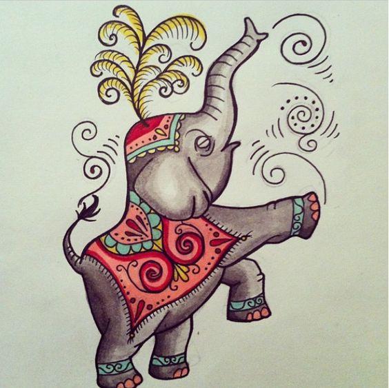 Circus elephant painting