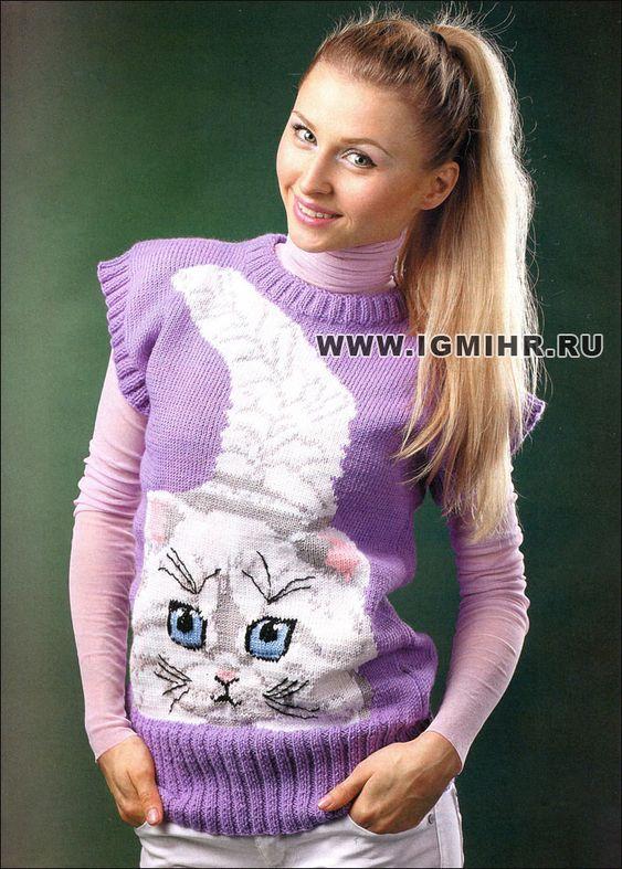 Вязание кофточки с котятами