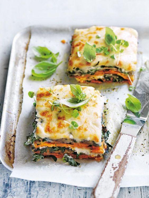 Sweet potato, eggplant and cauliflower béchamel lasagne.