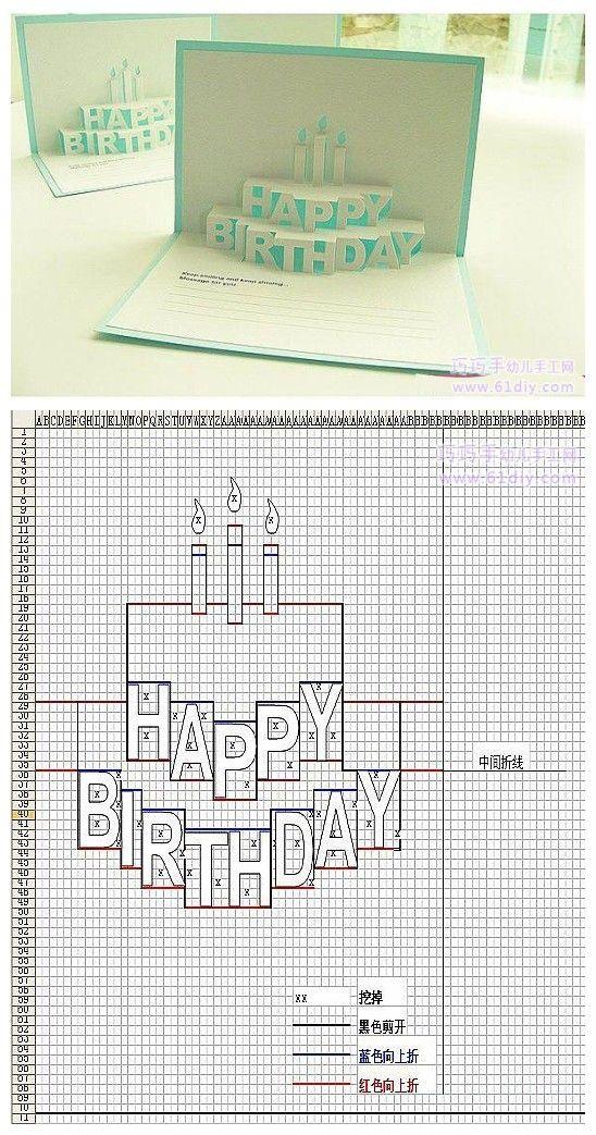 Объемные открытки торт своими руками схемы шаблоны