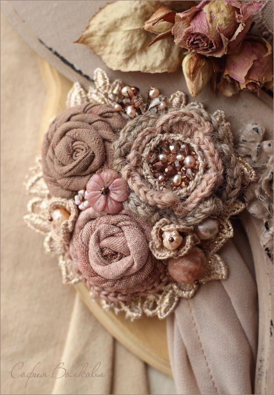 Броши цветы из ткани своими руками мастер класс