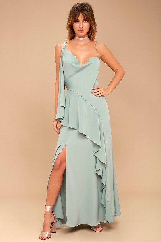 Be Mine Sage Green Maxi Dress
