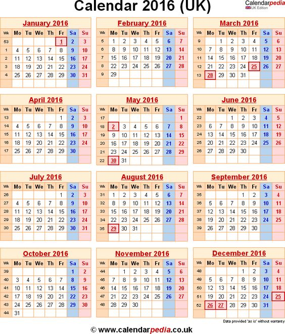 bank holidays 2016 in the uk calendarpedia