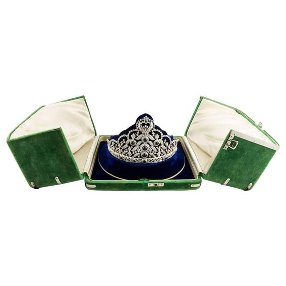 Stunning Diamond and Sapphire Tiara   From a unique collection of vintage more jewelry at https://www.1stdibs.com/jewelry/more-jewelry-watches/more-jewelry/