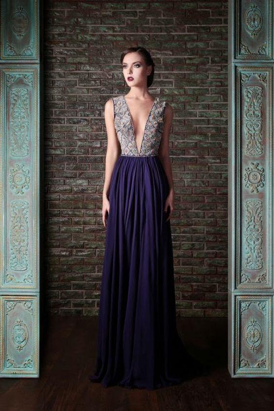 vestidos elegantes de noche largos escotados