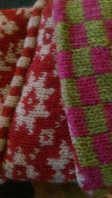 Машинное вязание варежек