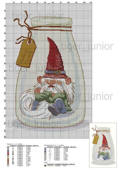 Схема вышивки эльфа гнома и