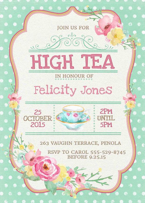 High Tea Invitations P EV Lovely High Tea Party Invitation Wording