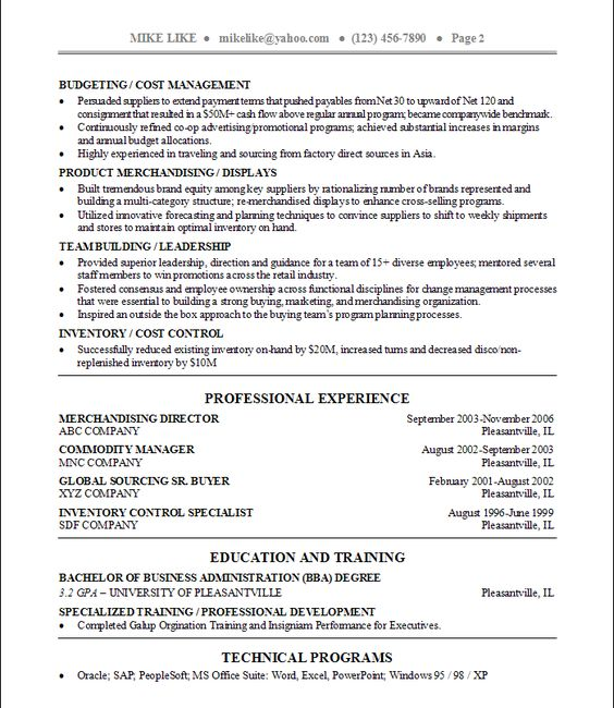 Commodity manager sample resume