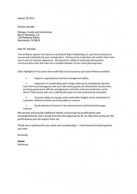 wedding planner resume – Event Planner Cover Letter