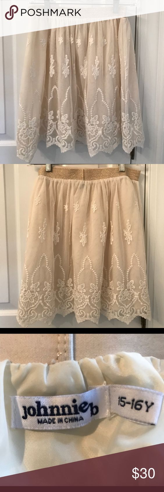 Johnnie B embroidered skirt size 15-16Y Gorgeous embroidered skirt with sparkly gold elasticized waist. Johnnie B size 15-16Y. Perfect for dances and holiday photos! Please see photos for measurements. Lovingly cared for in a smoke free home. johnnie b Bottoms Skirts