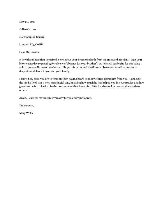 condolence letter template - formal condolence letter