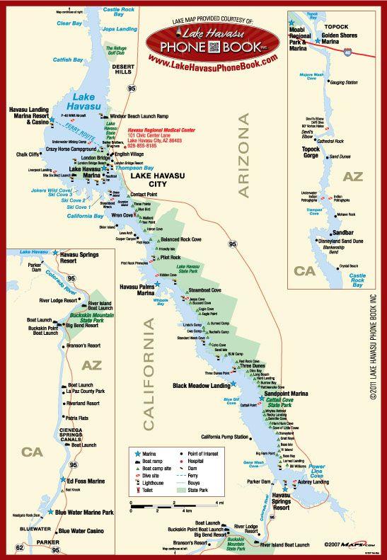 Lake Havasu Map Bass Fishing Pinterest Activities