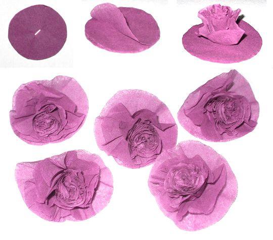 Цветы из гофрированной бумаги для цифры своими