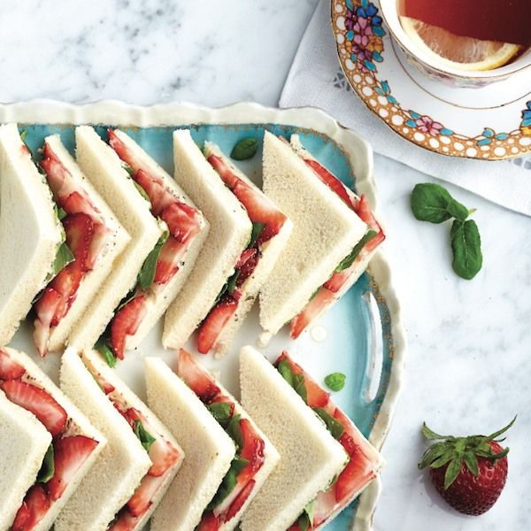 Strawberry tea sandwiches. Picnic-perfect. These summer tea sandwiches bring together sweet berries, fragrant herbs and creamy cheese in an unforgettable afternoon snack.  - Chatelaine