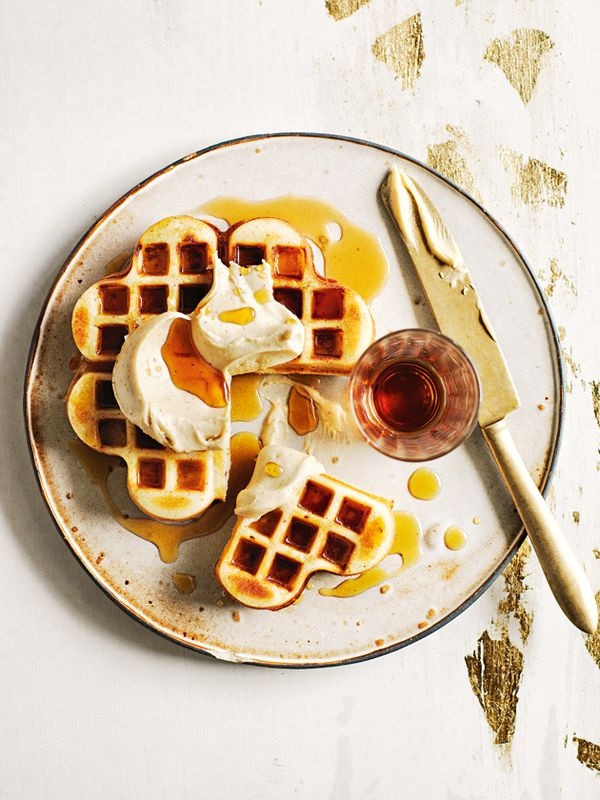 brown butter waffles with whipped maple butter.