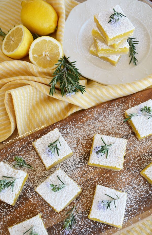 Rosemary Lemon Bars, a match made in heaven! Tart, sweet, buttery and savory, all in one luscious bite! | homeiswheretheboatis.net