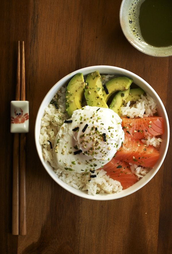 Salmon sashimi is perfect served over steamed white rice with sliced avocado, a poached egg and a sprinkle of furikake.